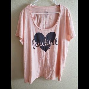 Torrid 3X Graphic Heart Short Sleeve T Shirt Top